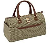 London Fog Cambridge II 16'' Classic Satchel, Olive Houndstooth