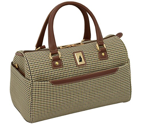 London Fog Cambridge II 16'' Classic Satchel, Olive Houndstooth by London Fog