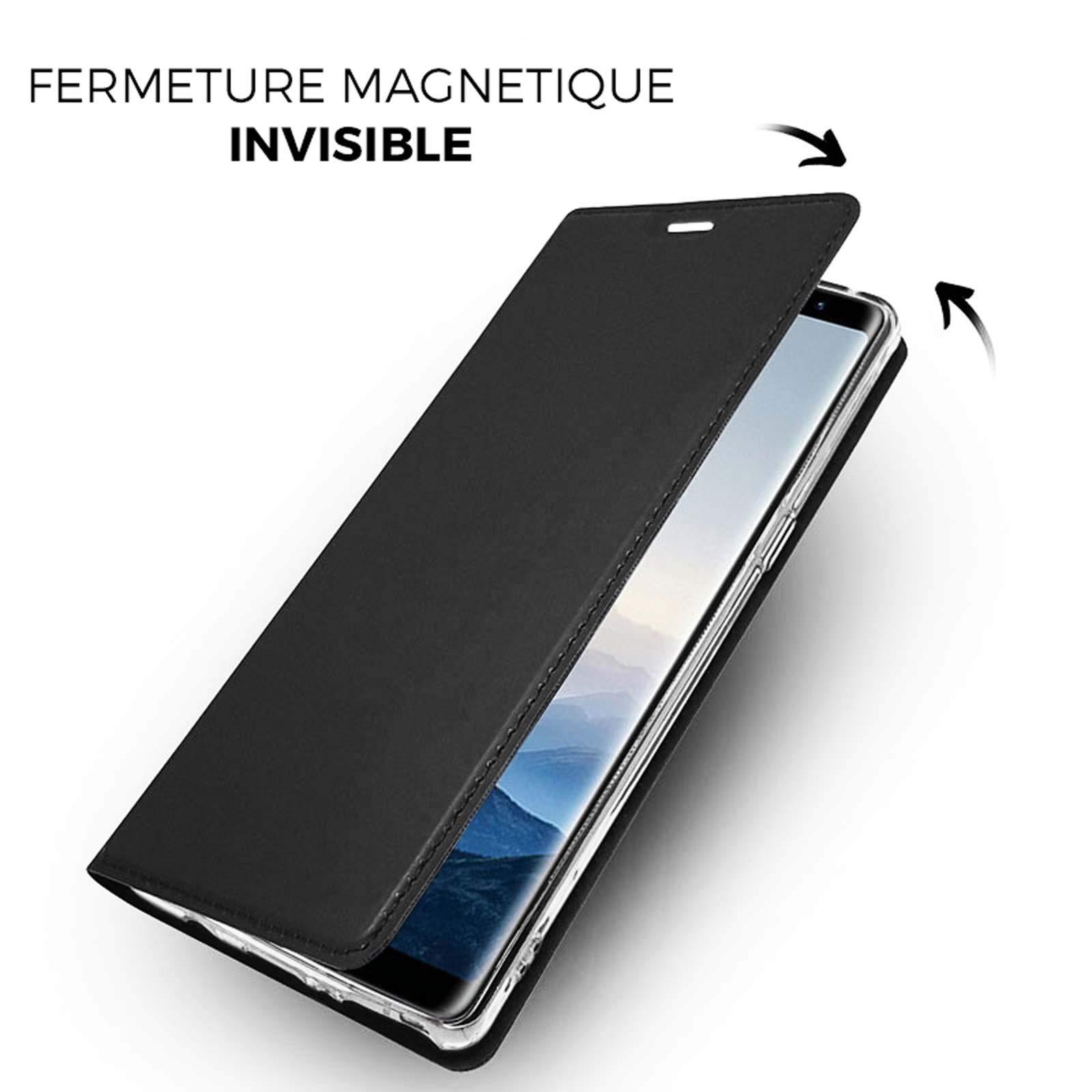 LINCIVIUS  Etui Samsung Galaxy Note 9, Housse Samsung Note 9 Coque Noir Flip Cover Rabat Aimanté Avant Arriere Integrale Antichoc [30 Jours Satisfait Ou Remboursé]
