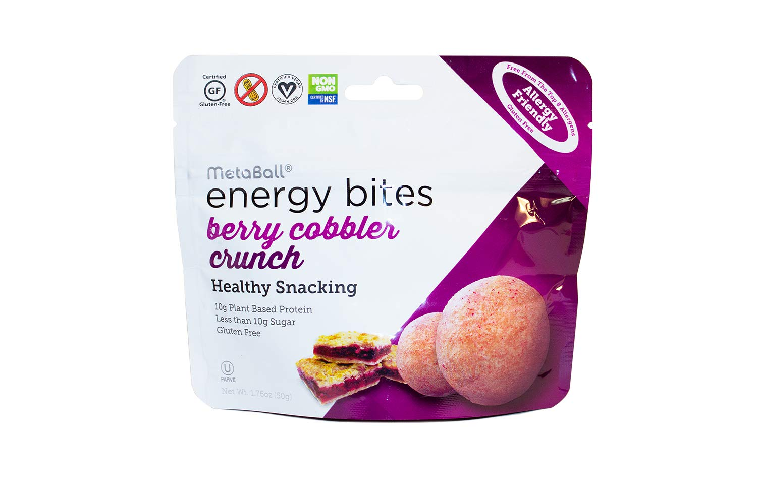 MetaBall Energy Bites – Berry Cobbler Crunch, Bite-Sized Protein Snack, Allergy Friendly, Vegan, Kosher, Gluten-Free (10-pack, 1.76 oz)