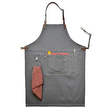 Delantales de lona de vaquero lavable, unisex, color gris, con correa de piel, para cocina, barbacoa, herramienta de bolsillo, delantal, Medium: Amazon.es: ...