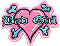 Pink Heart Bad Girl Bone Cross Biker Lady Rider Hippie Punk Rock Heavy Metal Tatoo Jacket T-shirt Patch Sew Iron on Embroidered Sign Badge