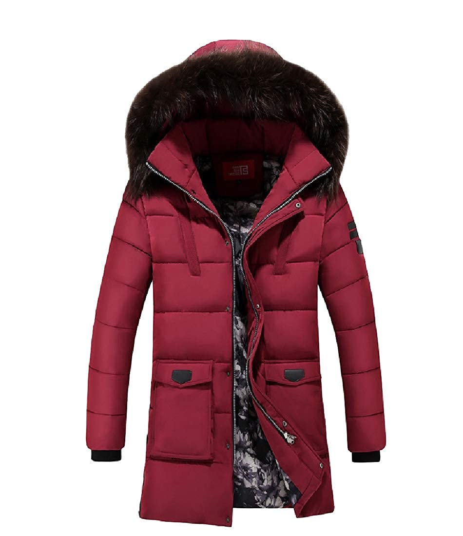 YUNY Mens Fur Collar Warm Thickened Hoode Mid-Long Outdoor Coat Jacket Red 2XL