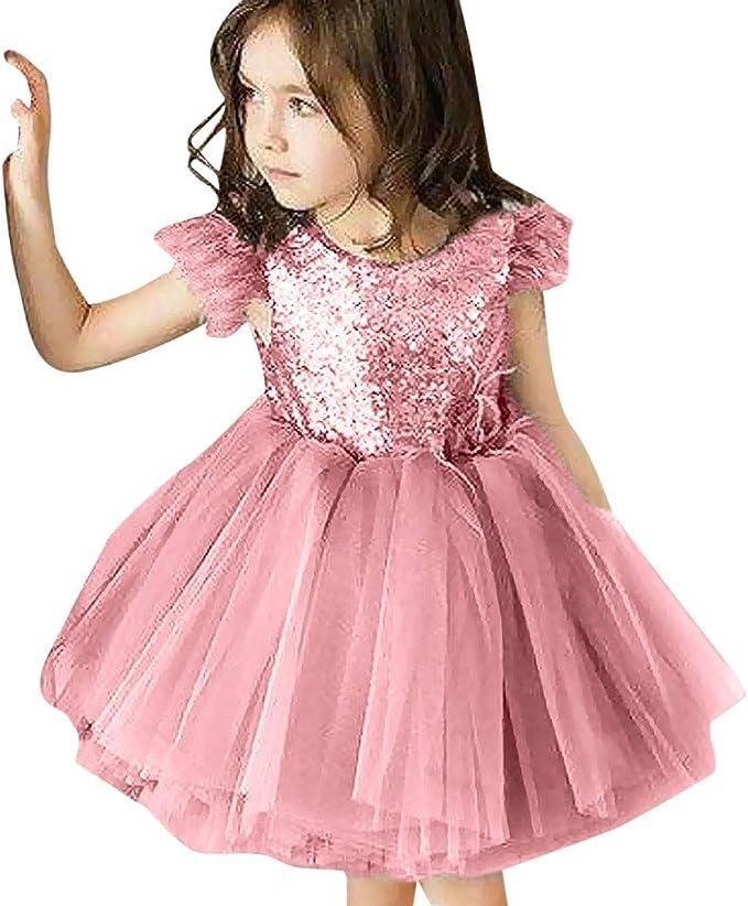 BONNY BILLY Vestiti Bambina Eleganti Cerimonia Principessa Tulle Glitter Senza Maniche