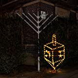 Hanukkah Outdoor / Indoor 3.5 ft. Gold Dreidel Traditional Decoration with LED lights and stand