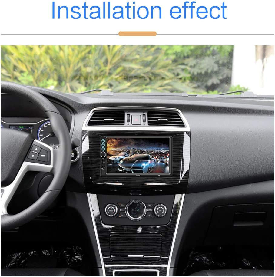 Reversing Camera Car Stereo Double Din Car Radio Bluetooth 7 Touch Screen in Dash Car Audio MP5 Player TF USB FM Radio Media Player Mirror Link Steering Wheel Controls Remote Control
