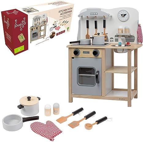 Jouéco - Cocina de Madera con Accesorios 80055: Amazon.es: Juguetes y juegos
