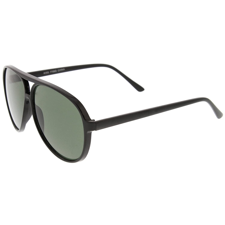 d98973625 Amazon.com: Retro Flat Top Teardrop Shaped Neutral Colored Lens Aviator  Sunglasses 59mm (Black/Green): Clothing