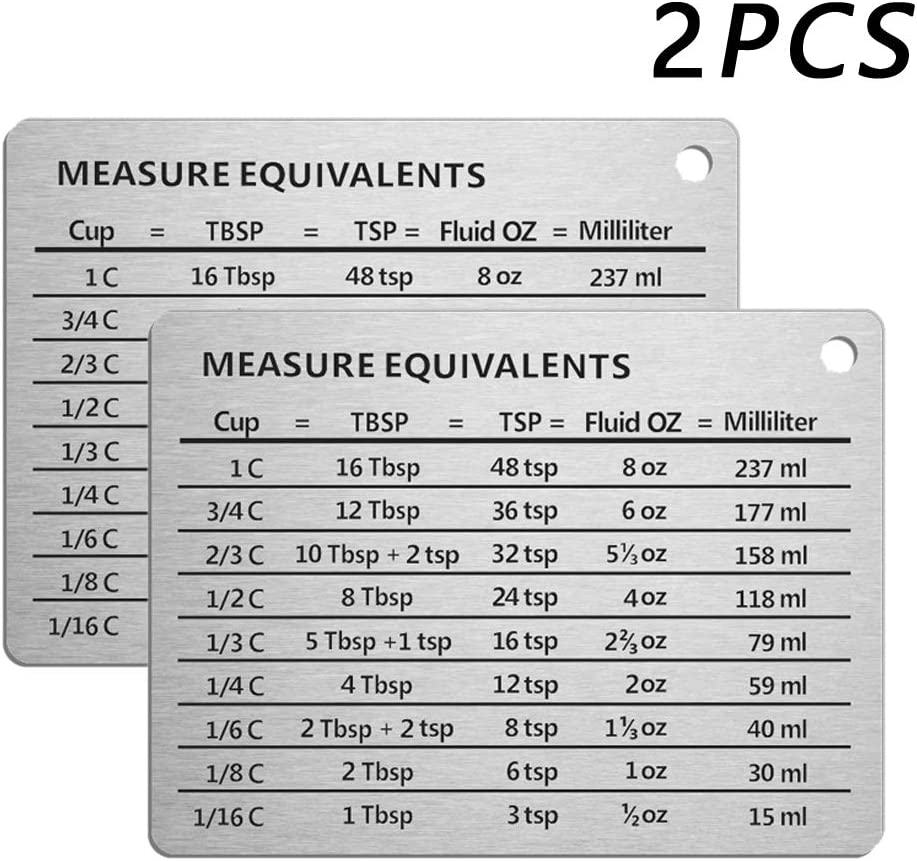 Latauar Magnetic Kitchen Conversion Chart - Professional Measurement Refrigerator Magnet in 18/8 Stainless Steel, 2 Pack