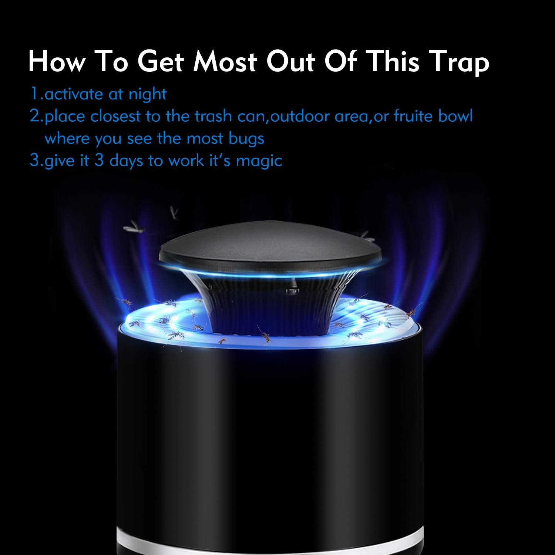 seguro para ni/ños ventilador trampa incluso los insectos voladores m/ás peque/ños Trampa para insectos para interiores gnat mosquitos sin zapper insectos no t/óxico moscas de frutas luz UV