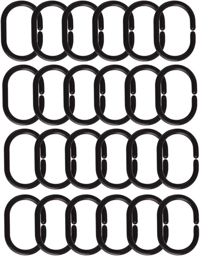 24 paquetes ganchos para ba/ño color negro Anillas de pl/ástico para cortina de ducha