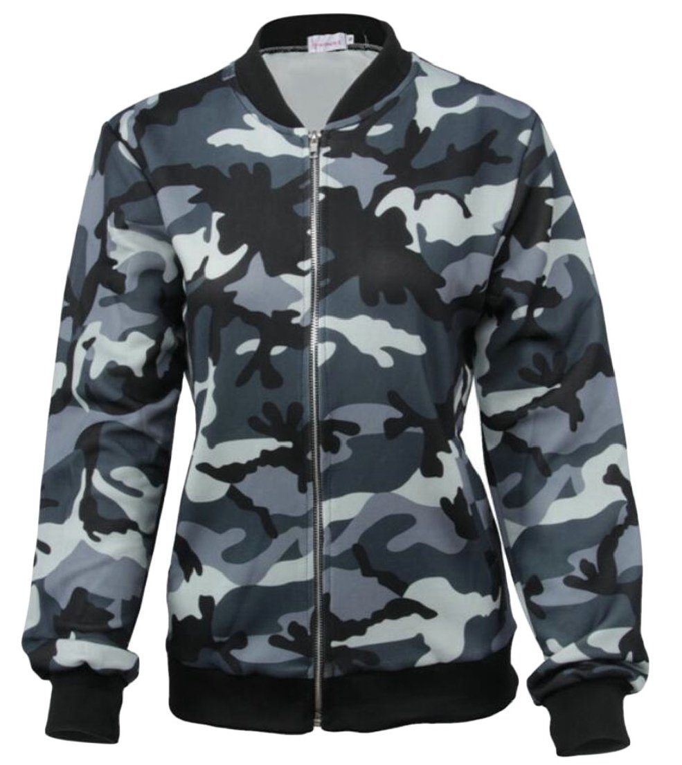 Generic Womens Camo Military Style Short Bomber Jacket XL
