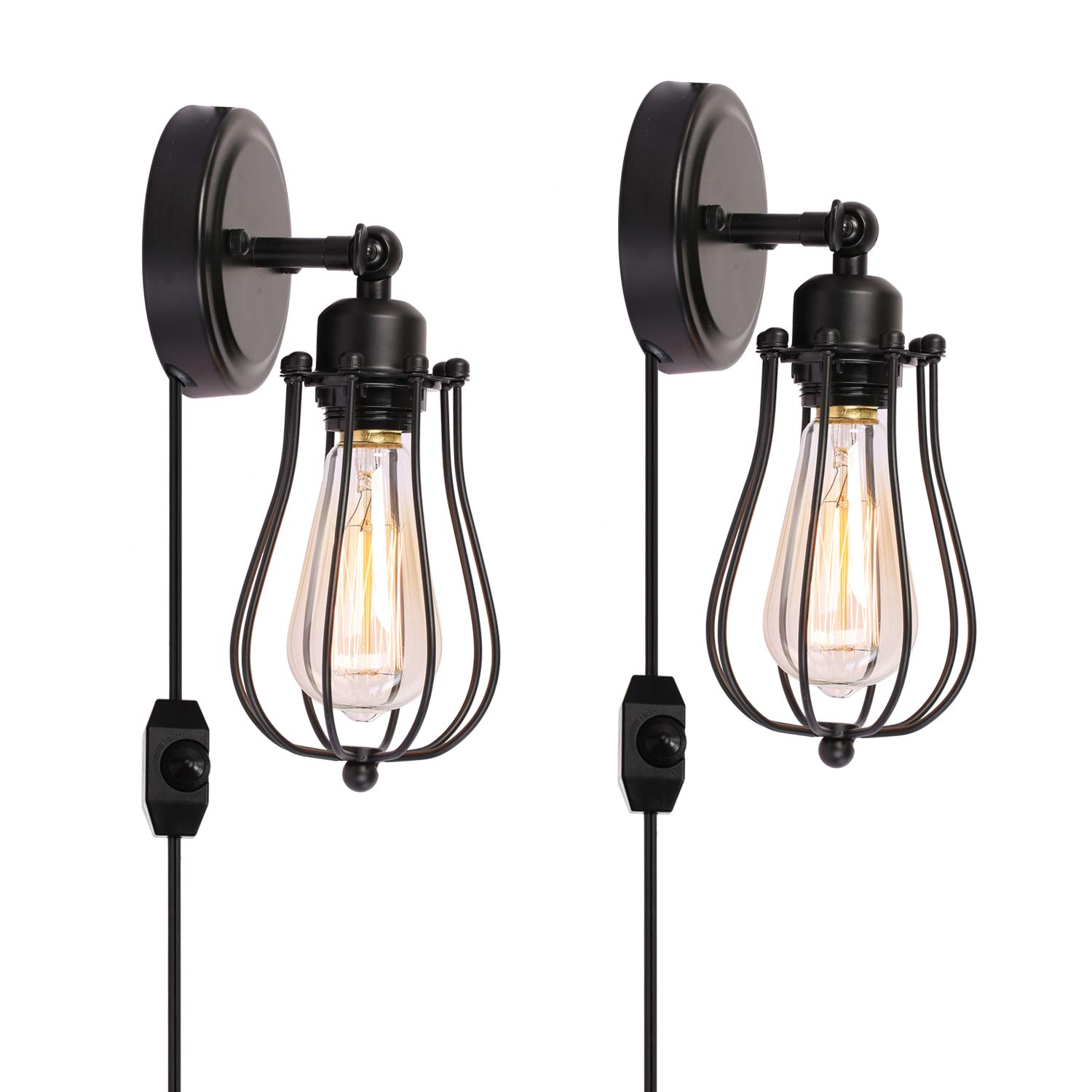 Kingmi Wire Cage Industrial Wall Sconce Plug-in Wall Light Shade Vintage Style Edison E26 Base with Dmmer Switch for Headboard Bedroom Garage Porch Light 2 Packs(HARDWIRE)