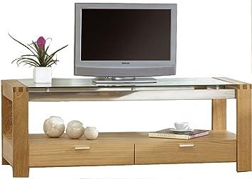 Mark Harris Roma roble y soporte para televisor de cristal ...
