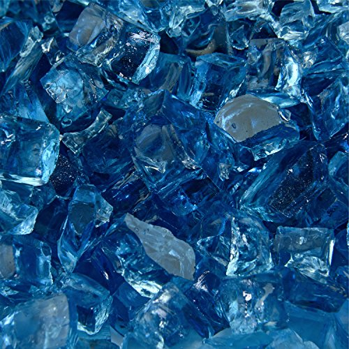 Blue Fire Glass for Indoor and Outdoor Fire Pits or Fireplaces | 10 Pounds | Harbor Mist Original Fire Glass, 1/2 Inch