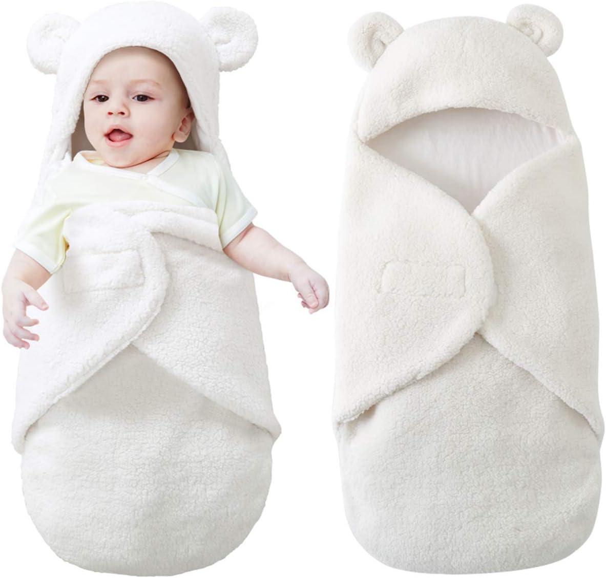 Baby Swaddle Wrap Blanket Sleeping Bag Newborn Faux cashmere Hooded Sleepsacks