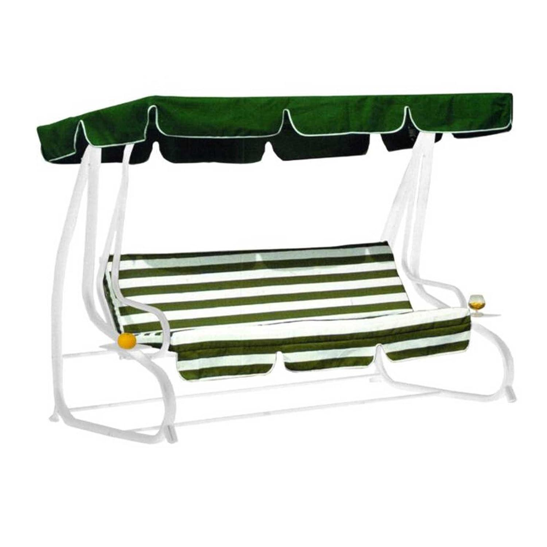Hollywoodschaukel MIAMI grün, Stahlgestell, Umklappbar zur Liege