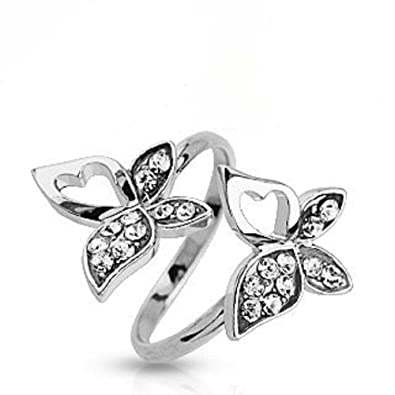 AG2AU Sterling Silver Toe Ring Decorated with Two Crystal Glass uBrRnri73