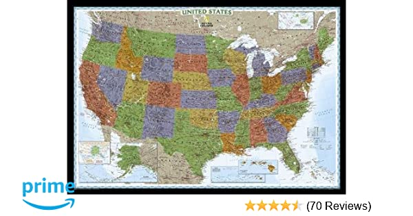 National Geographic: United States Decorator Enlarged Wall Map ... on