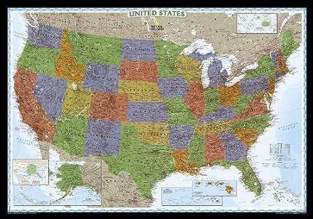 Decorator USA politisch, laminiert: 1:4560000: National Geographic ...