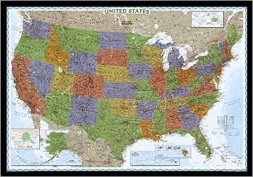 United States Decorator Laminated National Geographic Reference - Ographic map us