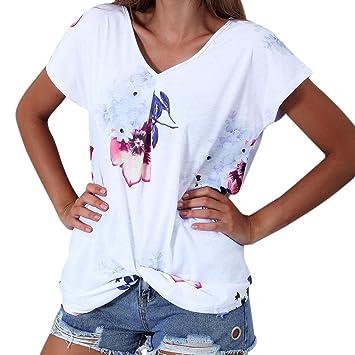 2cb2aa3f1eb MML Women s Floral Print T-Shirt Loose Short Sleeve Hem Fold V-Neck Blouse