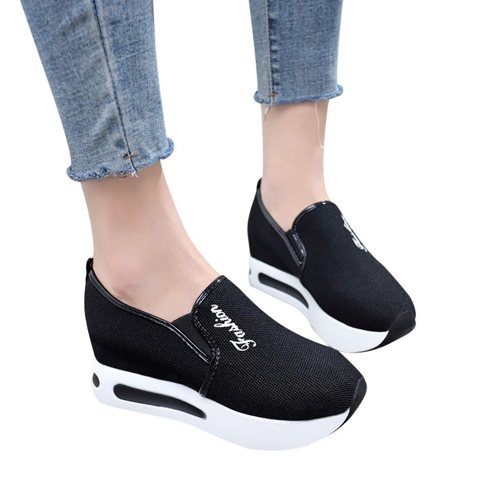 Shoes For Womens -Clearance Sale ,Farjing Women Casual Net Shoe Breathable Mesh Slope Thick Platform Shoes(US:5.5,Black)