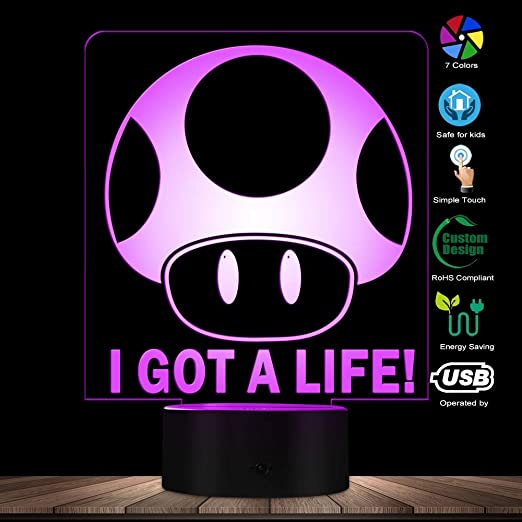 WANQINGW Modern Super Mario Brothers I Got A Life 3D Ilusión ...