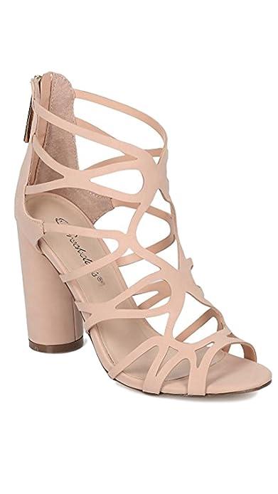 2d07c99abc2 Amazon.com | Breckelle's Venus-21 Women's Strappy Round Block Heel ...