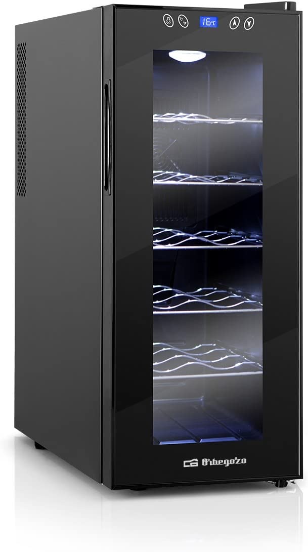 Orbegozo VT 1210, Vinoteca 12 Botellas, 70 W, Led, Display Digital, Panel de Control Táctil, 5 Estantes Extraíbles Cromados, 35 l, Negro
