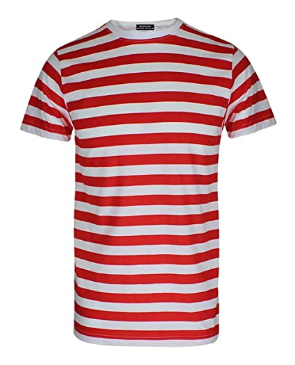 4d339e16de RIDDLED WITH STYLE Mens Red and White Stripe T Shirt Short Sleeve Tees#(Red