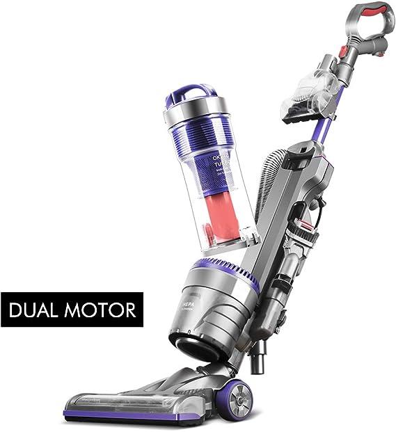 OKVAC Bagless Upright Vacuum Cleaner Dual Motor HEPA Filtration