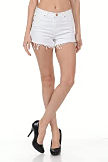 product image for Angry Rabbit Womens Premium Raw Edge High Rise Denim Shorts Jeans Made in USA