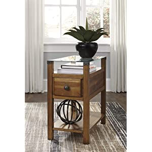 b58f899cf67c46 Signature Design by Ashley T217-630 Diamenton Chairside End Table Medium  Brown
