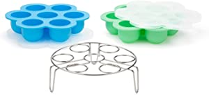 Silicone Egg-Bites-Molds for Instant-Pot-Accessories with Silicone-Stretch-Lids - Ice-Cube-Trays Reusable Food-Storage-Containers, for 5,6,8qt Pressure-Cooker-Accessories