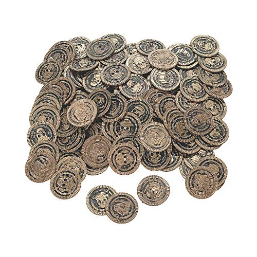 Fun Express - Plastic Pirate Coins (1 1/2 Inches) (Pack of 144) -