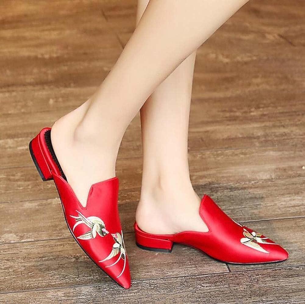 MYI Frauen Spitz Sandaletten Low-Heeled Baotou Baotou Baotou Flache Hausschuhe Schwarz Grau Rot Größe 34-39 B07C7T4BQQ Kletterschuhe Moderne und elegante Mode 06570a