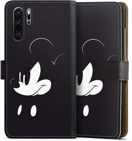 DeinDesign Klapphülle kompatibel mit Huawei P30 Pro Handyhülle aus Leder schwarz Flip Case Mickey Mouse Offizielles Lizenzprodukt Disney
