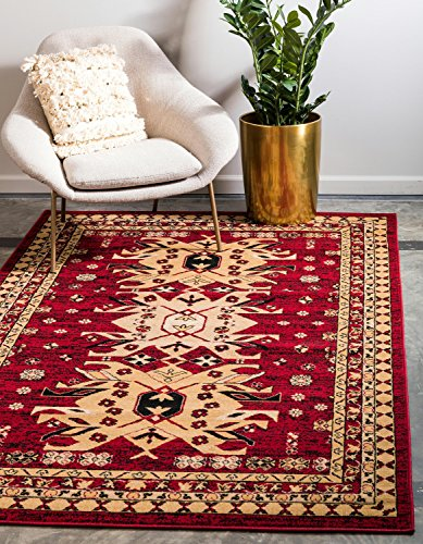 - Unique Loom Taftan Collection Geometric Tribal Red Area Rug (6' x 9')