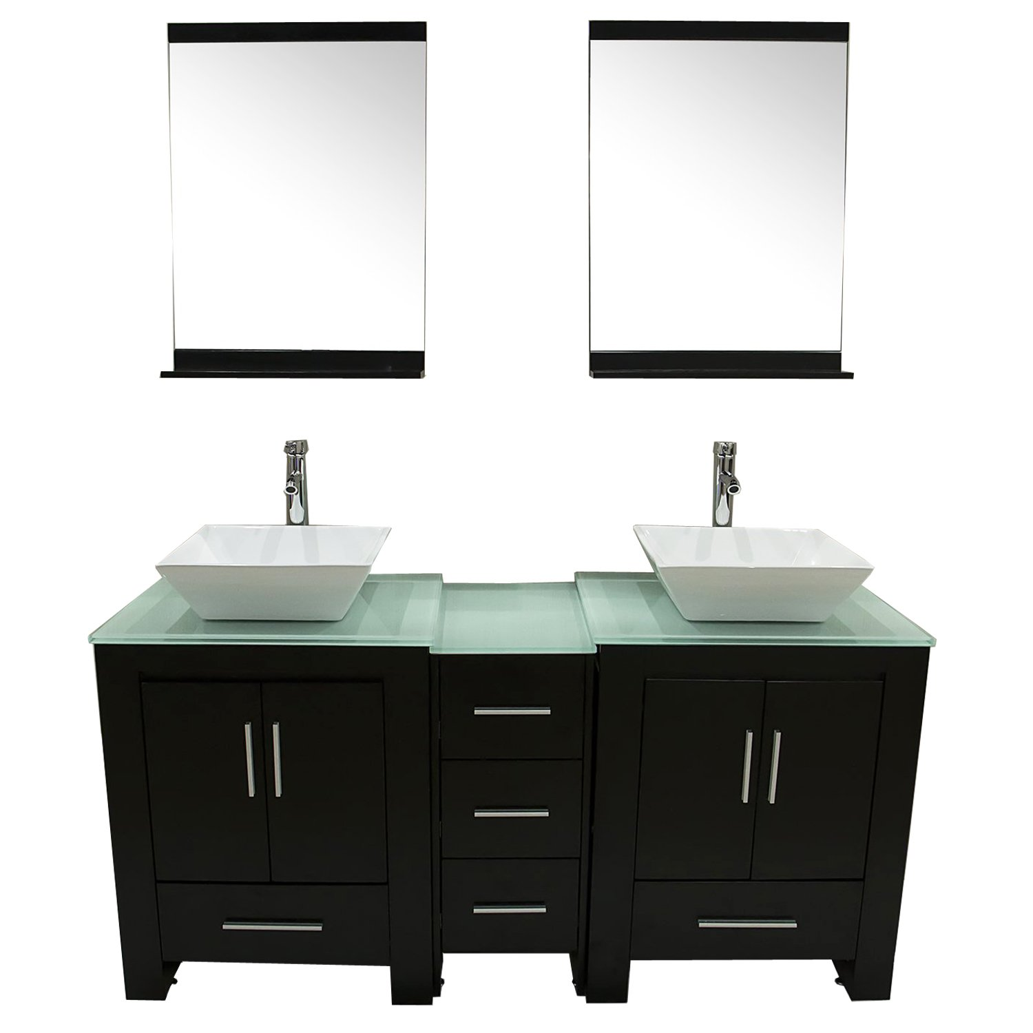 Walcut Luxury 60'' Modern Double Ceramic Sink Solid Wood Bathroom Vanity Cabinet With Mirror And Tempered Glass Table Board