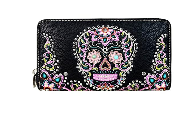 montana west sugar skull halloween day of the dead wallet wristlet mw585 w003 black