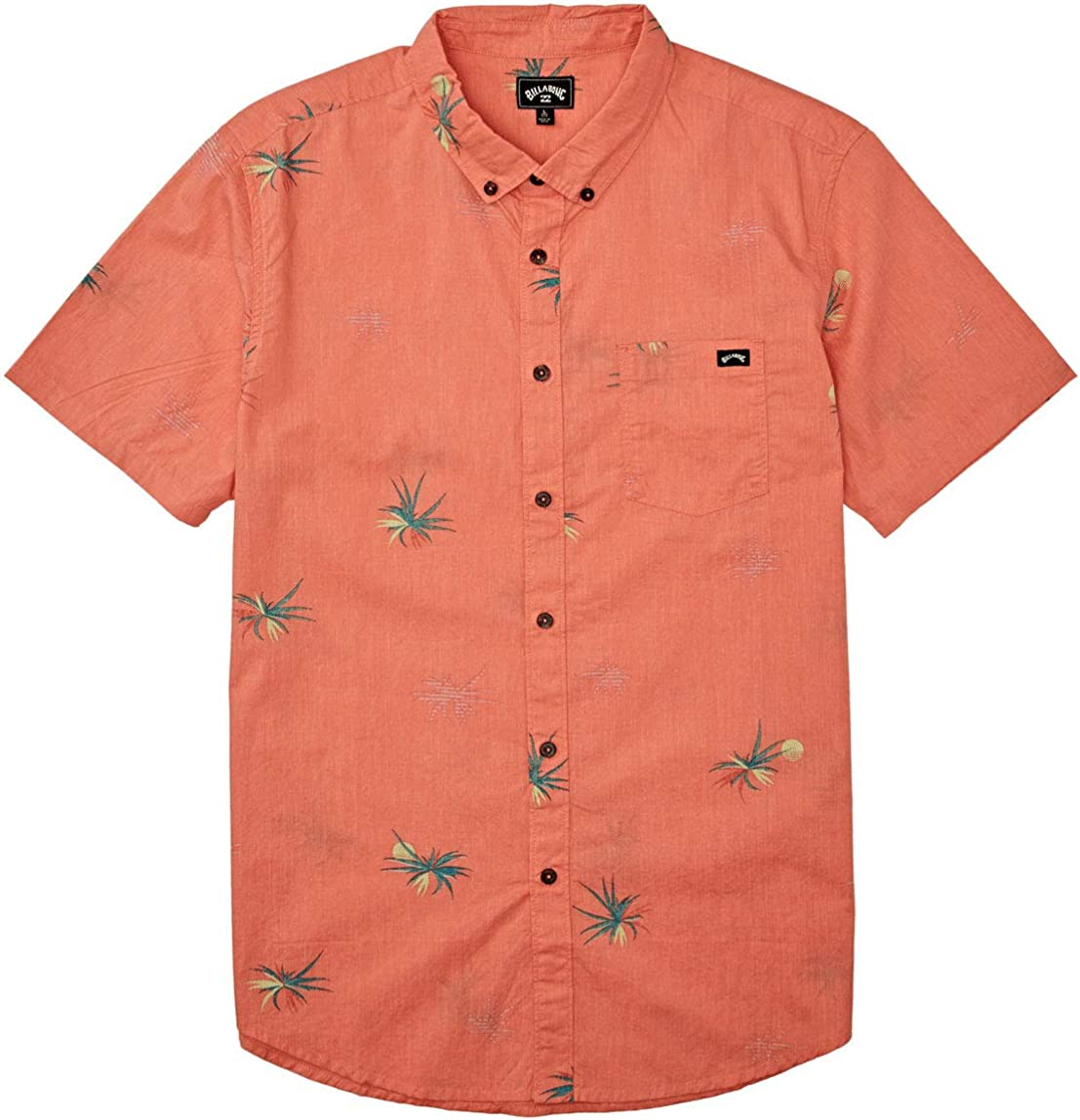 Billabong Men's Sundays Woven Floral and Small Scale Printed Pattern Short Sleeve Shirt