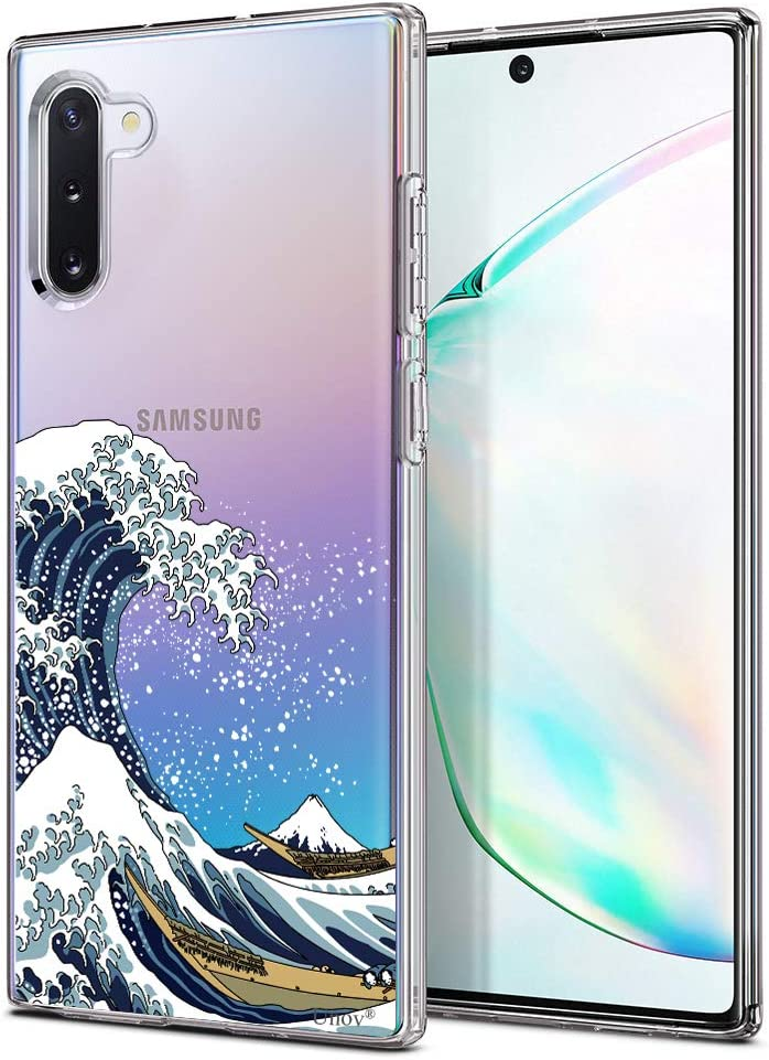 Unov Galaxy Note 10 Case Clear with Design Soft TPU Shock Absorption Slim Embossed Pattern Protective Back Cover for Galaxy Note 10 6.3inch (Great Wave)