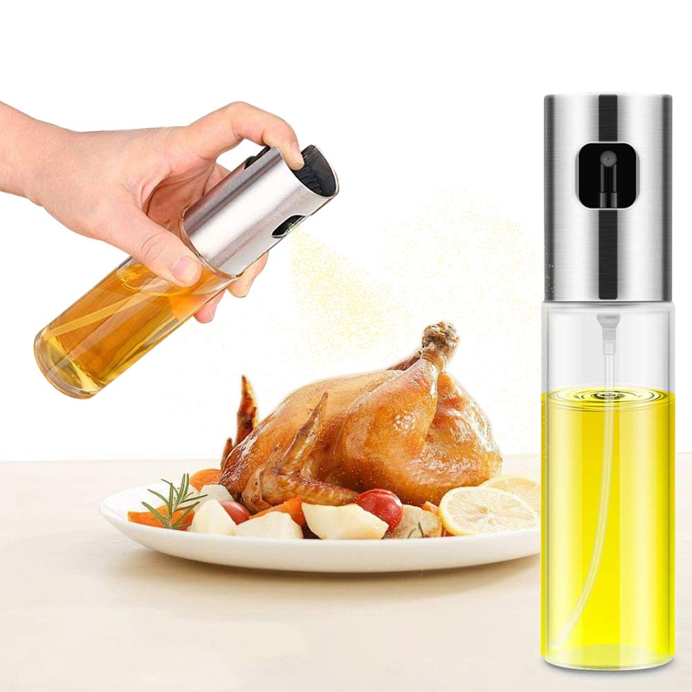 Oil Sprayer,Food-grade Glass Olive Oil Sprayer for Cooking,Vinegar Bottle Glass Olive Oil Bottle Spray Bottle for Cooking/BBQ/Salad/Baking/Grilling by Woohubs