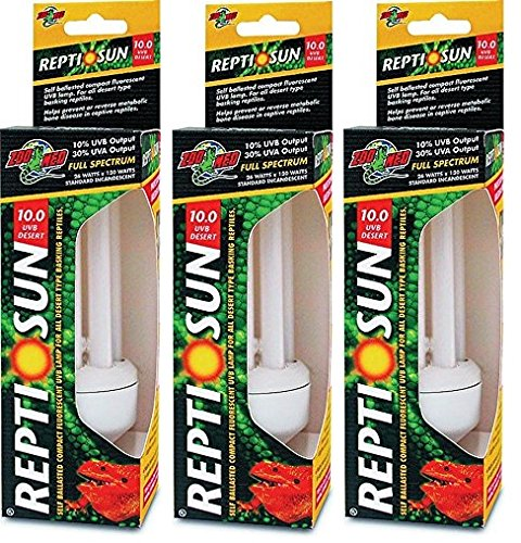(3 Pack) Zoo Med ReptiSun 10.0 Compact Fluorescent Lamps by Zoo Med