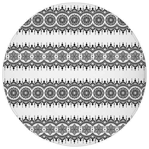 Round Rug Mat Carpet,Henna,Black White Mandala Design Floral Elements Monochrome Tattoo Pattern South Asian,Black White,Flannel Microfiber Non-slip Soft Absorbent,for Kitchen Floor (Black Monochrome Monitor)