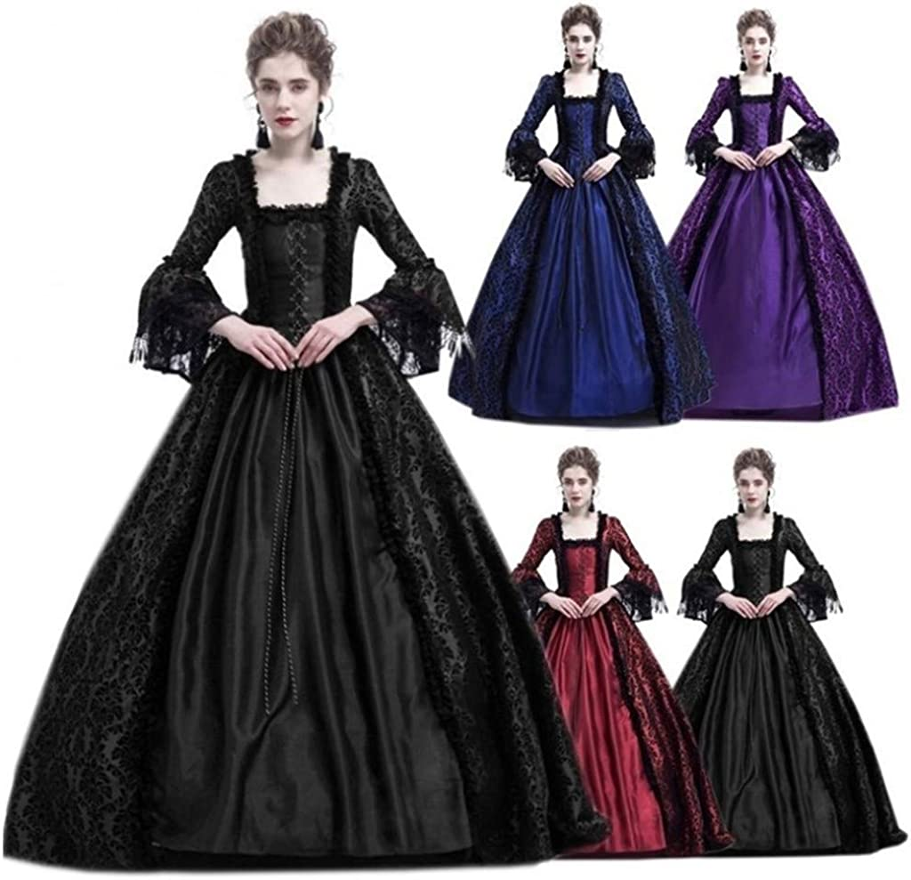 Forthery Womens Gothic Victorian Poplin Long Sleeve Hooded Halloween Lolita Witch Dress Clearance Gothic Dress