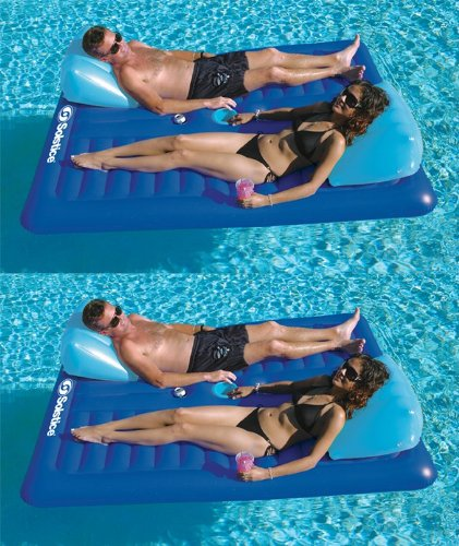 - 2) New Swimline 16141SF Swimming Pool Inflatable Durable 2 Person Air Mattresses