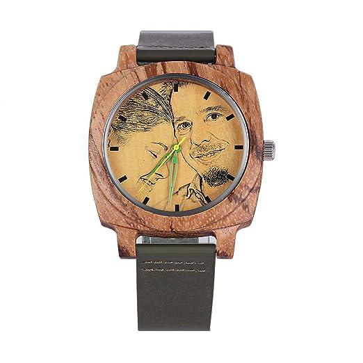 Reloj de Madera Personalizable con Foto y Mensaje Grabado de Cuero Reloj de Madera Regalo Personalizado: Amazon.es: Relojes