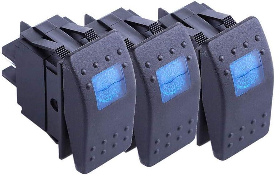 Mintice Trade 3 X Kfz Auto Kippschalter Druckschalter Schalter Wippschalter Wasserdicht 12v 20a Blau Led Licht Lampe 4pin An Aus Auto
